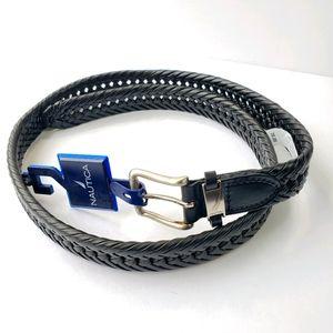 NWT Nautica woven vegan leather black belt Size 42